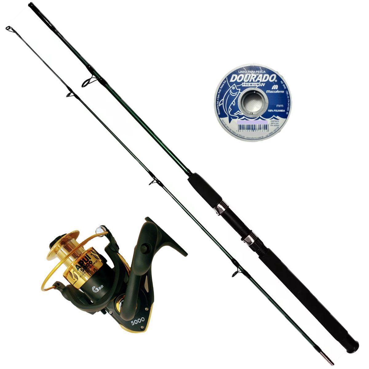 Vara De Pesca Completa 1,70 Molinete 5000 3 Rolamentos Linha