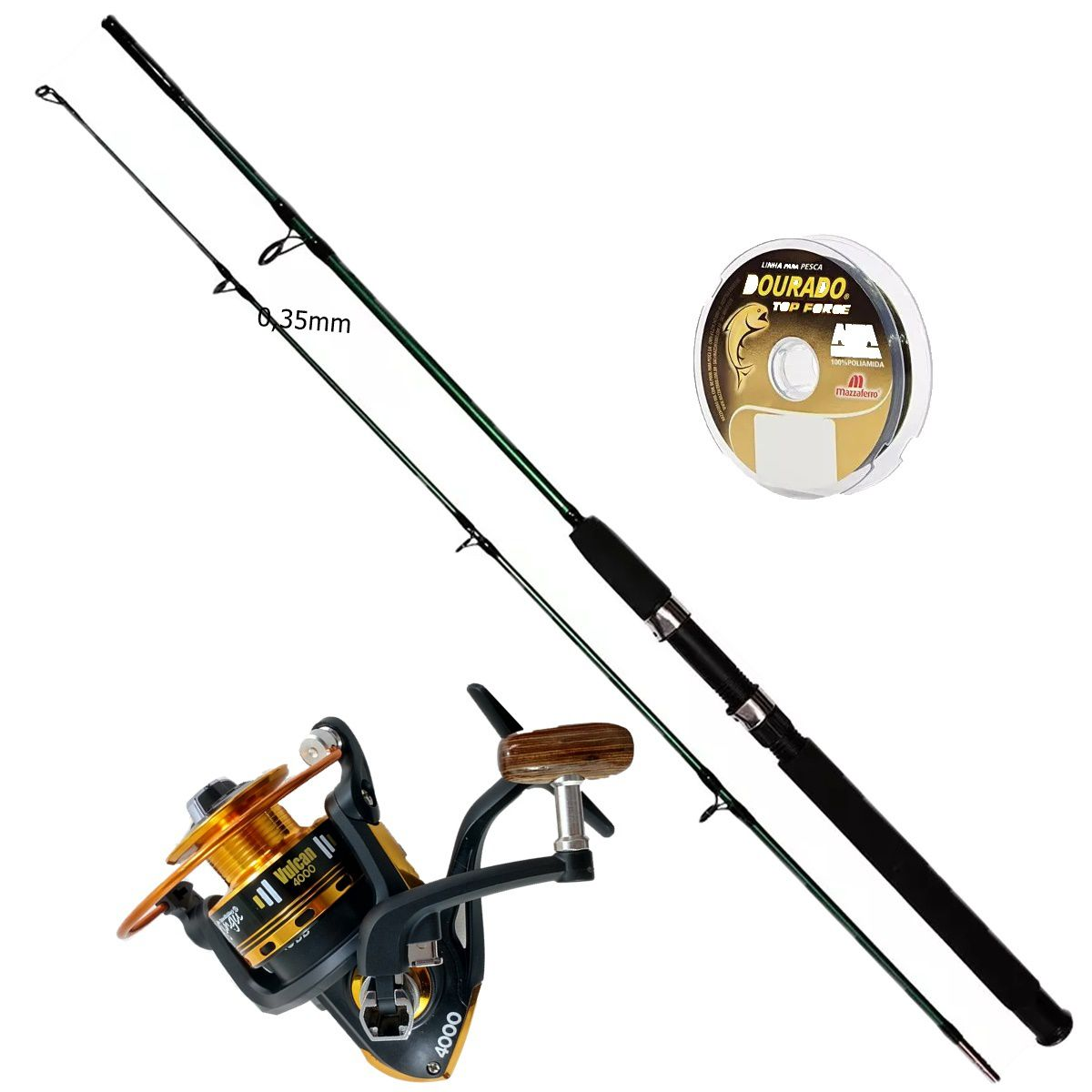Vara De Pesca Completa 1,70m 25-50lb  Molinete 4000 3 Rol