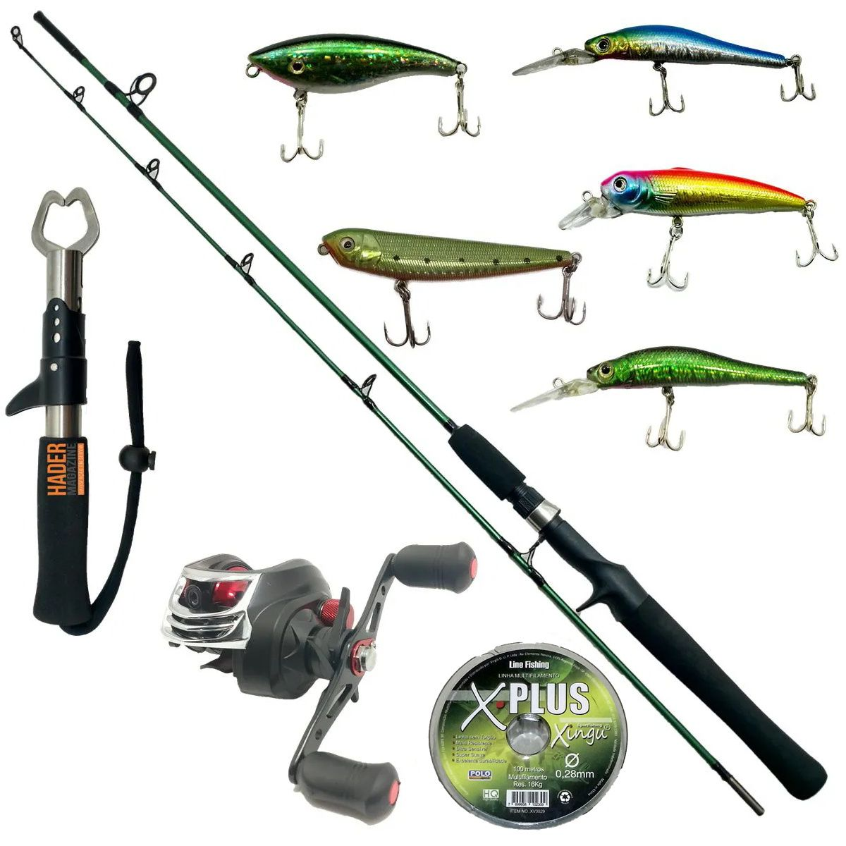 Vara De Pesca Completa 1,70m Carretilha 18 Rol 5 Iscas Linha