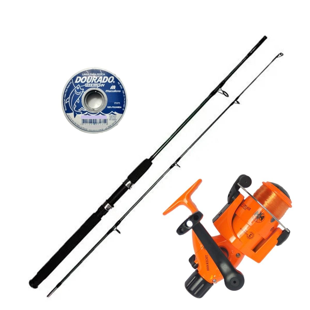 Vara De Pesca Completa 1,80m Com Molinete Linha Barato