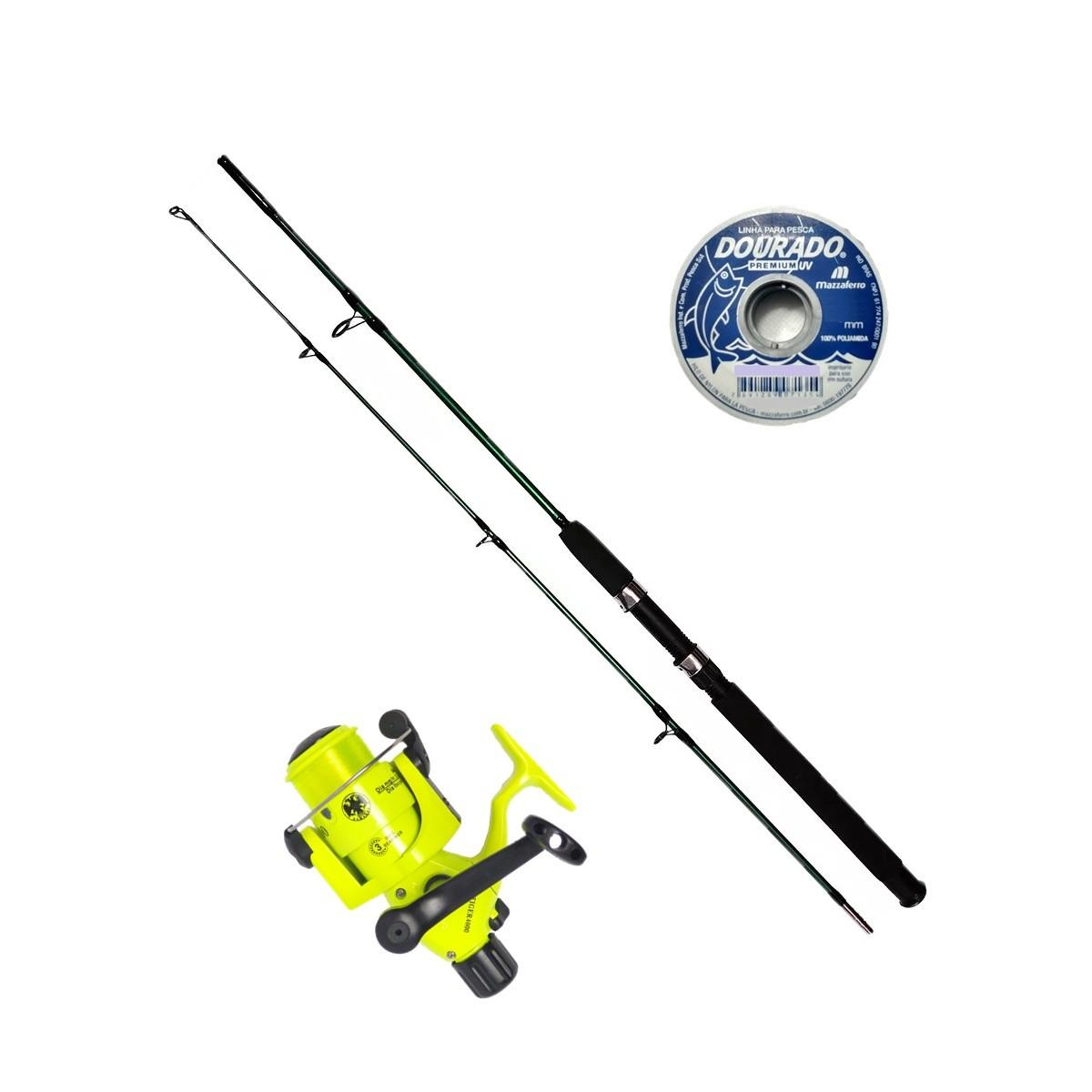 Vara De Pesca Completa 1,80m Molinete 4000 3 Rolamento Linha
