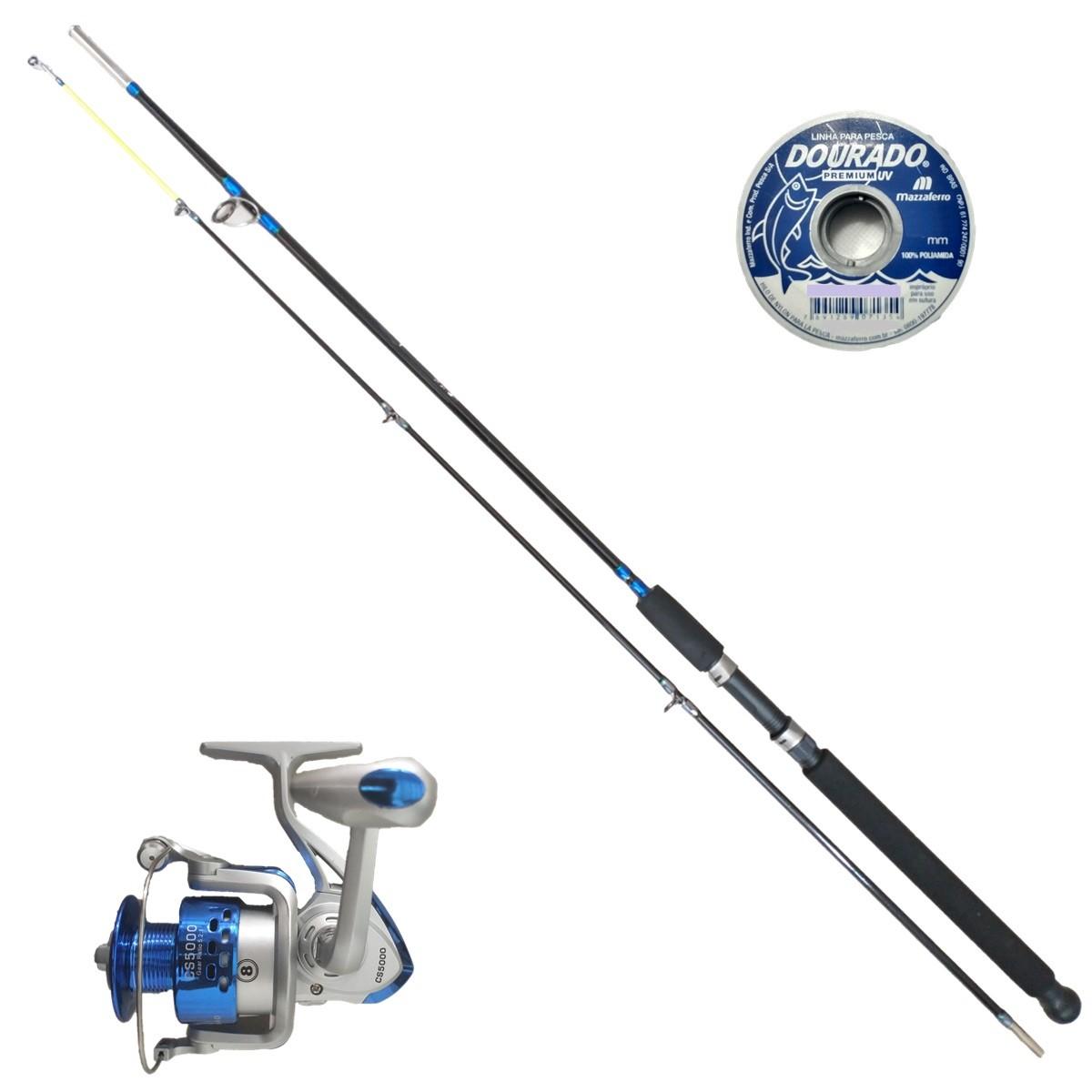 Vara De Pesca Completa 2,40m 30kg Molinete 8 Rol + Linha