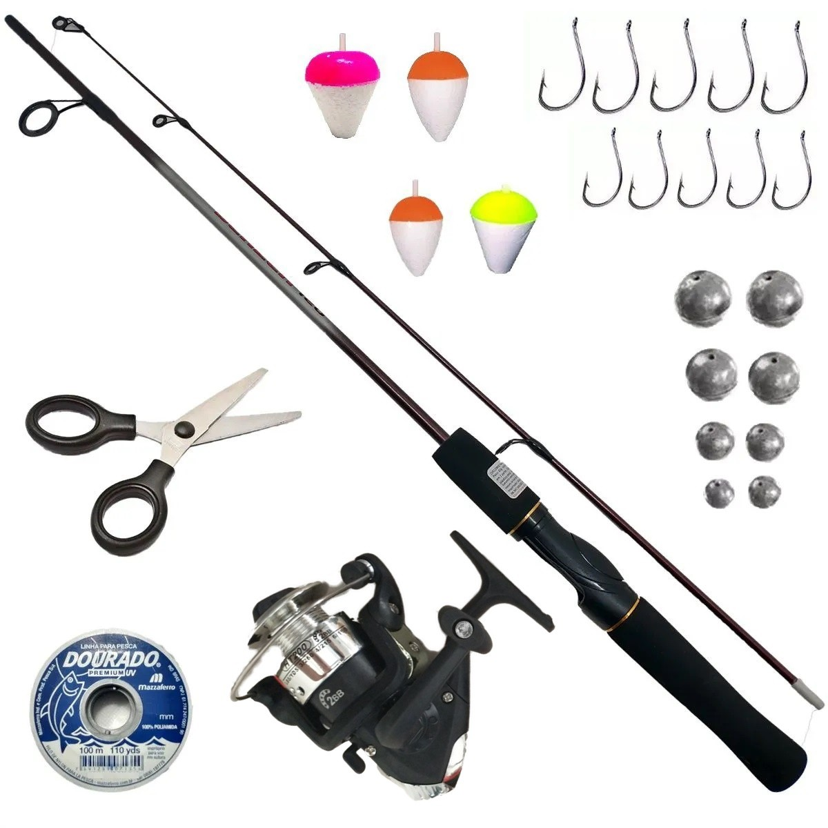 Vara de Pesca Completa Peixes Até 6kg Vara Molinete + 25 Peças