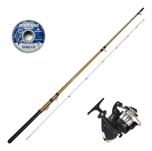 Vara De Pescar 1,35m 5kg Molinete 2 Rol E Linha Enrolada