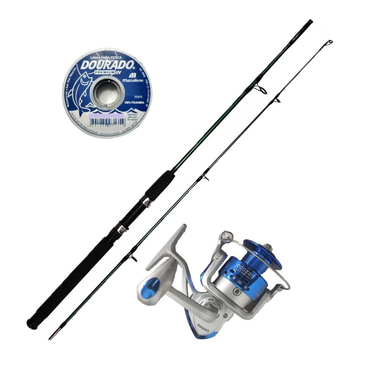 Vara De Pescar Completa 1,70m Molinete 5000 8 Rolamentos e Linha