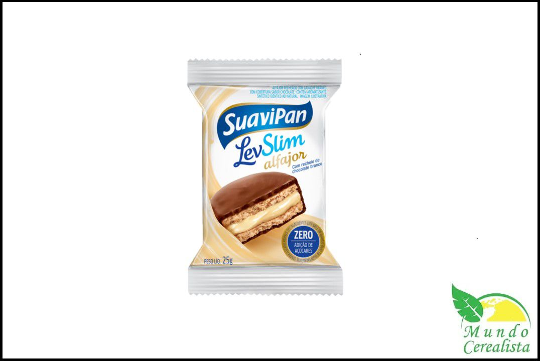 Alfajor Levslim Chocolate Branco 25G  - Mundo Cerealista