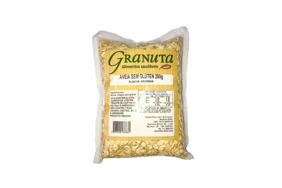 Aveia em Flocos Grossos SEM GLÚTEN - Granuta - 200 Gr  - Mundo Cerealista