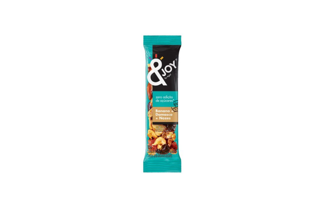 Barra &Joy Nuts Banana, Damasco e Nozes Zero Açúcar - 25G  - Mundo Cerealista