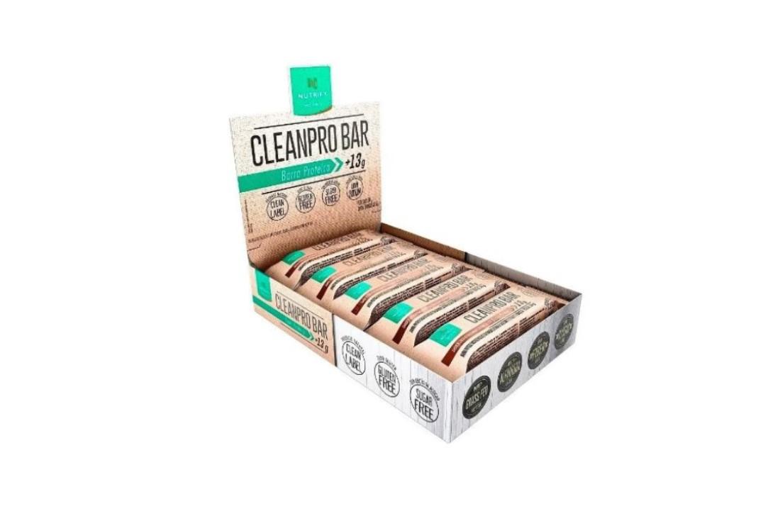 Barra Proteica Cleanpro Bar Baunilha 50 g- Nutrify - (Display com 10 unidades)  - Mundo Cerealista
