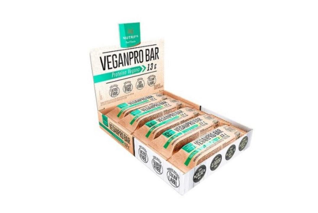 Barra Proteica Vegana Veganpro Bar Amendoim Crocante 40 g - Nutrify - (Display com 10 unidades)  - Mundo Cerealista