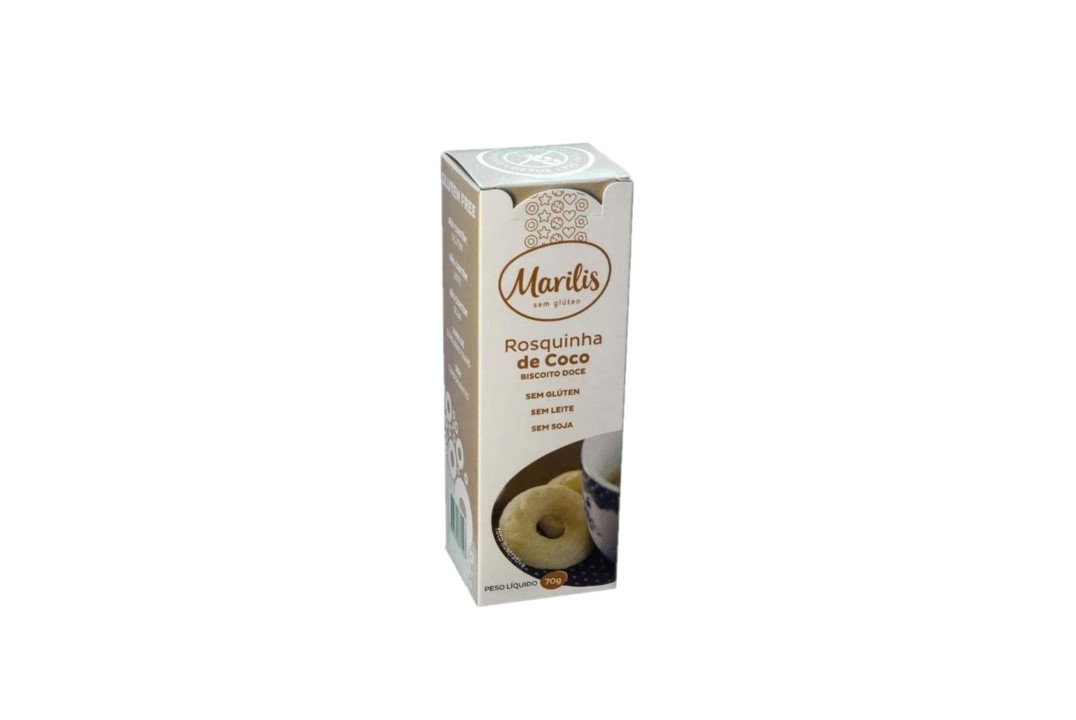 Biscoito Rosquinha de Coco Sem Glúten 70 Gr - Marilis  - Mundo Cerealista