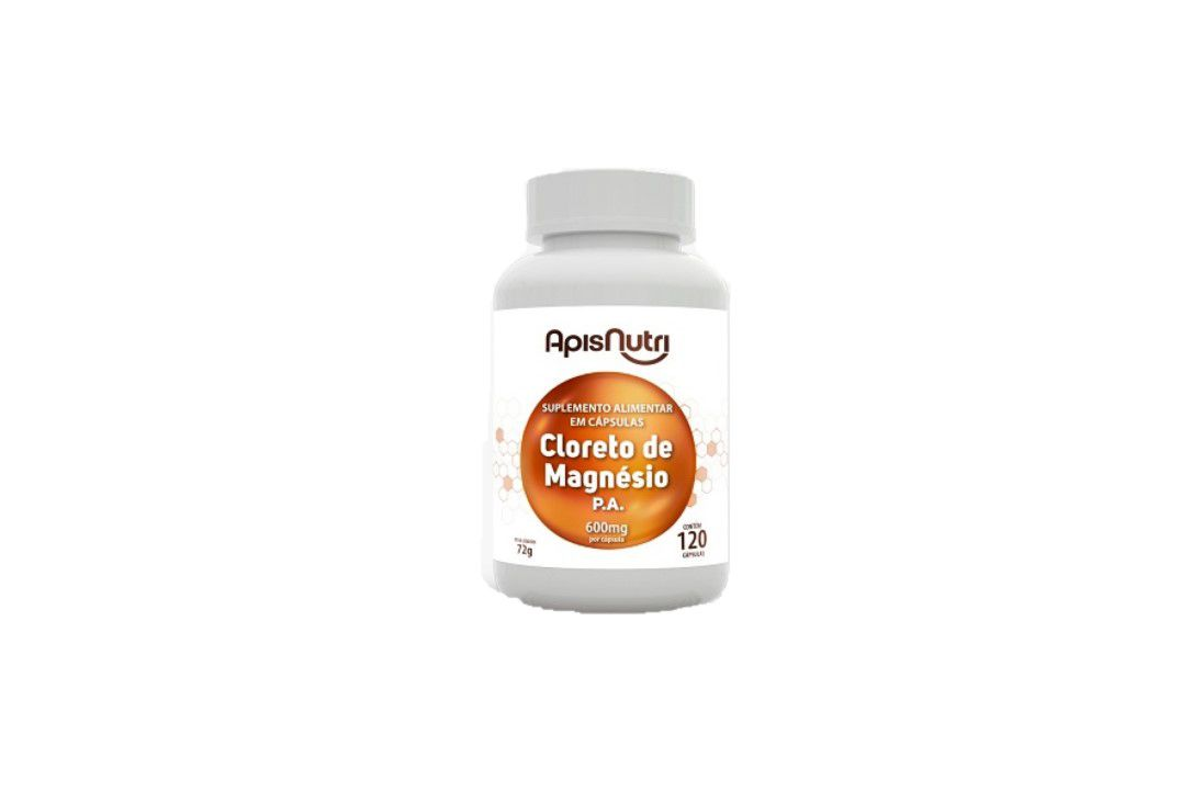 Cápsulas de Cloreto De Magnesio P.A 120 Caps 600Mg Apisnutri  - Mundo Cerealista