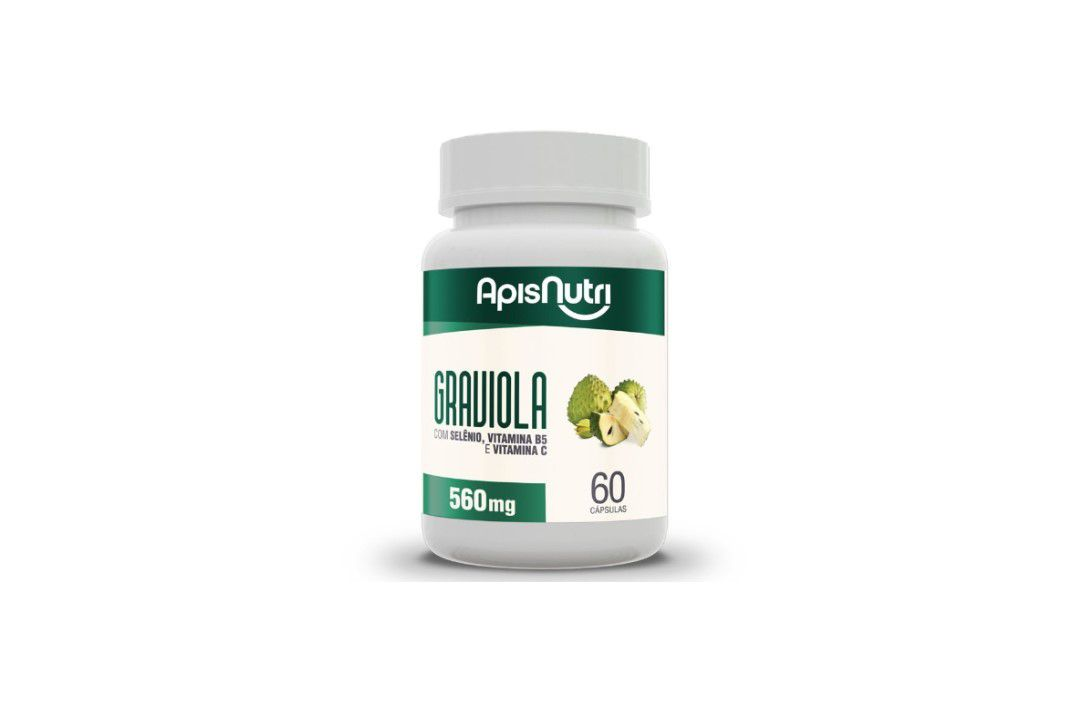 Cápsulas de Graviola 60 Caps 500Mg Apisnutri  - Mundo Cerealista