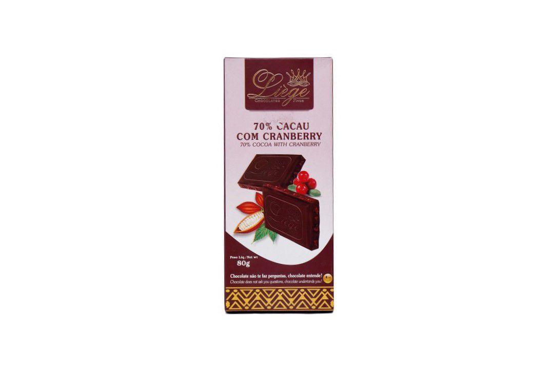 Chocolate 70% Cacau Com Cranberry 80G - Liége  - Mundo Cerealista