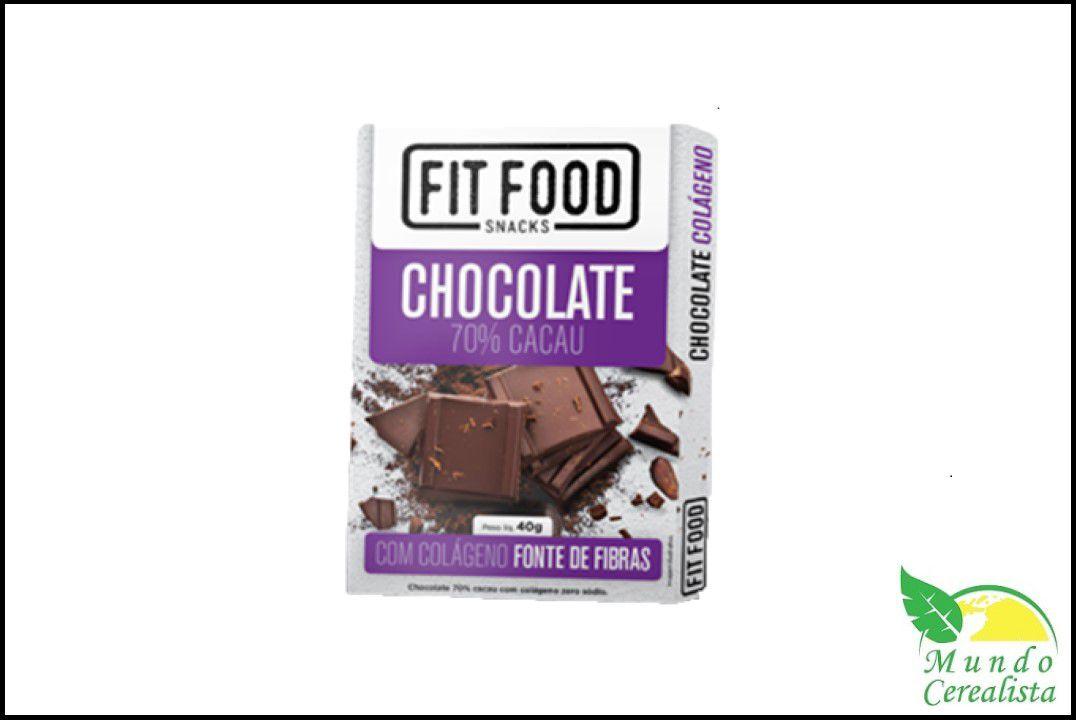 Chocolate 70% Colágeno 40G Fit Food  - Mundo Cerealista