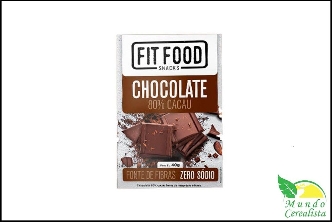 Chocolate 80% Cacau 40G Fit Food  - Mundo Cerealista