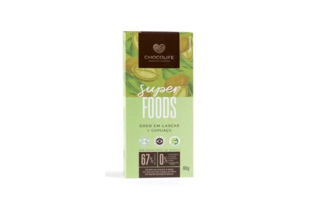 Chocolate Zero Açúcar Amargo 67% Cacau Sabor Coco em Lascas e Cupuaçu 80g - Chocolife  - Mundo Cerealista