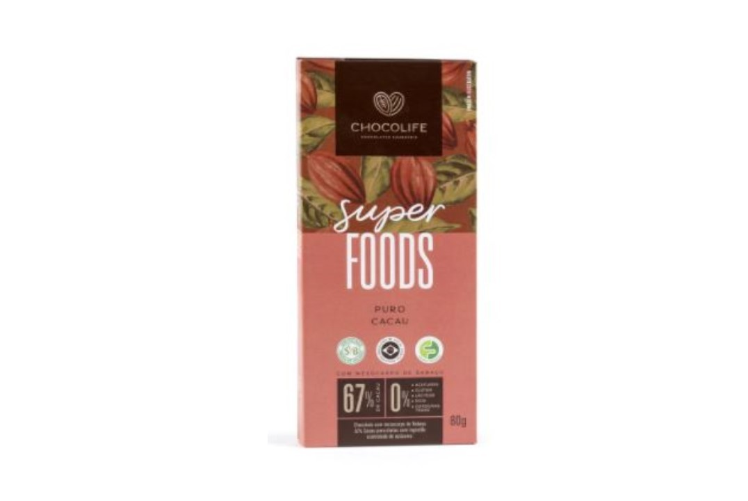 Chocolate Zero Açúcar Amargo 67% Puro Cacau 80g - Chocolife  - Mundo Cerealista