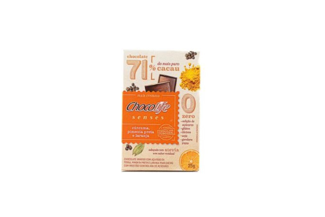 Chocolate Zero Açúcar Amargo 71% Cacau Sabor Cúrcuma, Pimenta e Laranja 25g - Chocolife  - Mundo Cerealista