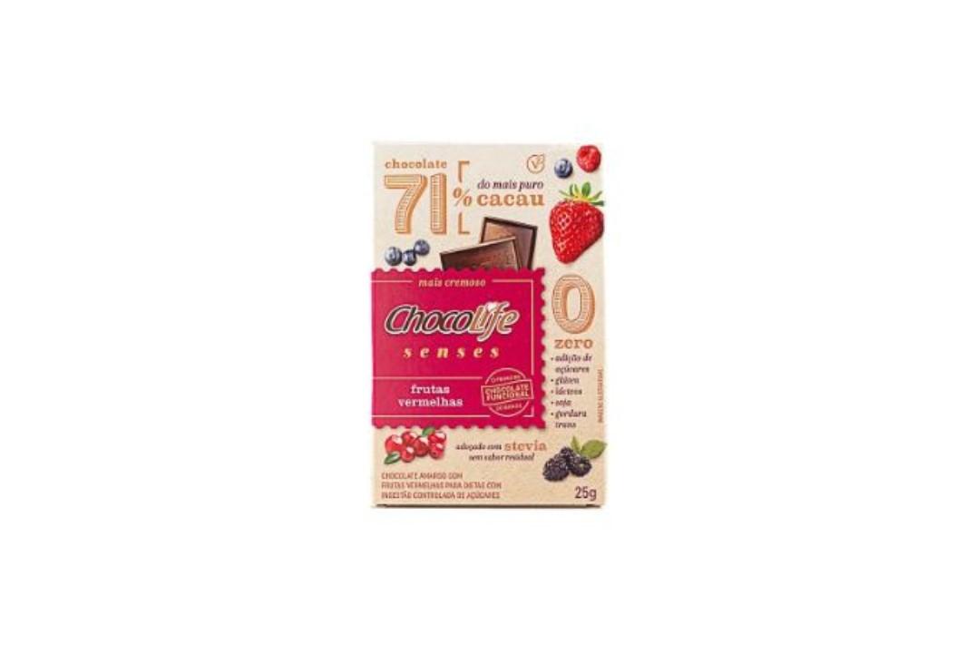 Chocolate Zero Açúcar Amargo 71% Cacau Senses Sabor Frutas Vermelhas 25g - Chocolife  - Mundo Cerealista