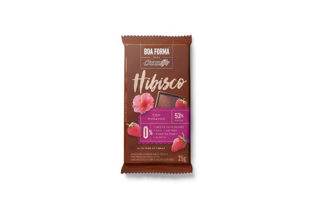Chocolate Zero Açúcar Meio Amargo  53% Sabor Hibisco com Morango 25g - Chocolife  - Mundo Cerealista