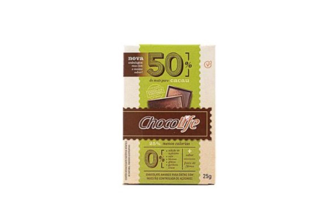 Chocolate Zero Açúcar Amargo em Tablete 50% Cacau 25g - Chocolife  - Mundo Cerealista