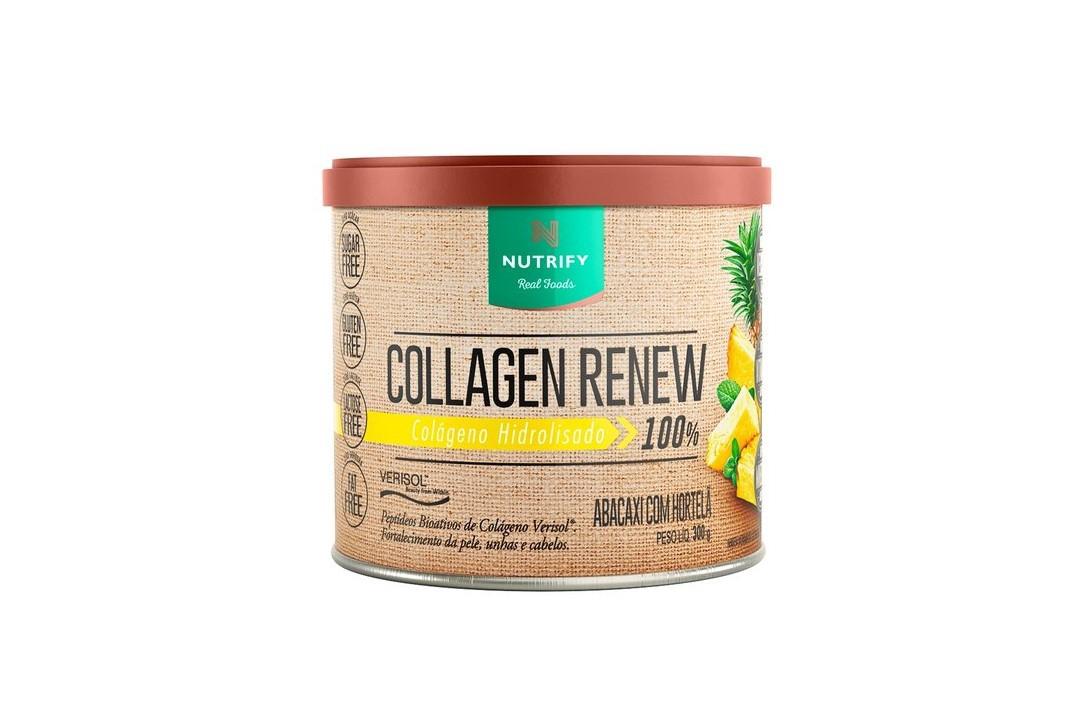Colágeno Hidrolisado 100% com Verisol Sabor Abacaxi com Hortelã - Collagen Renew - Nutrify 300 Gr  - Mundo Cerealista