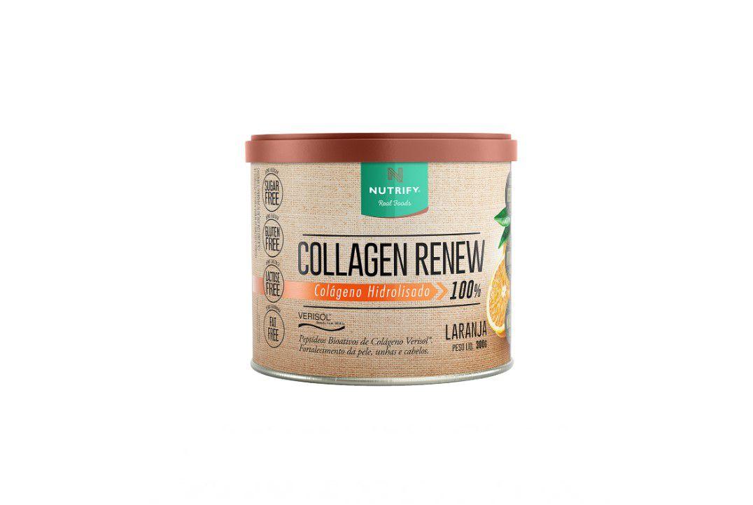 Colágeno Hidrolisado 100% com Verisol Sabor Laranja - Collagen Renew - Nutrify 300 Gr  - Mundo Cerealista