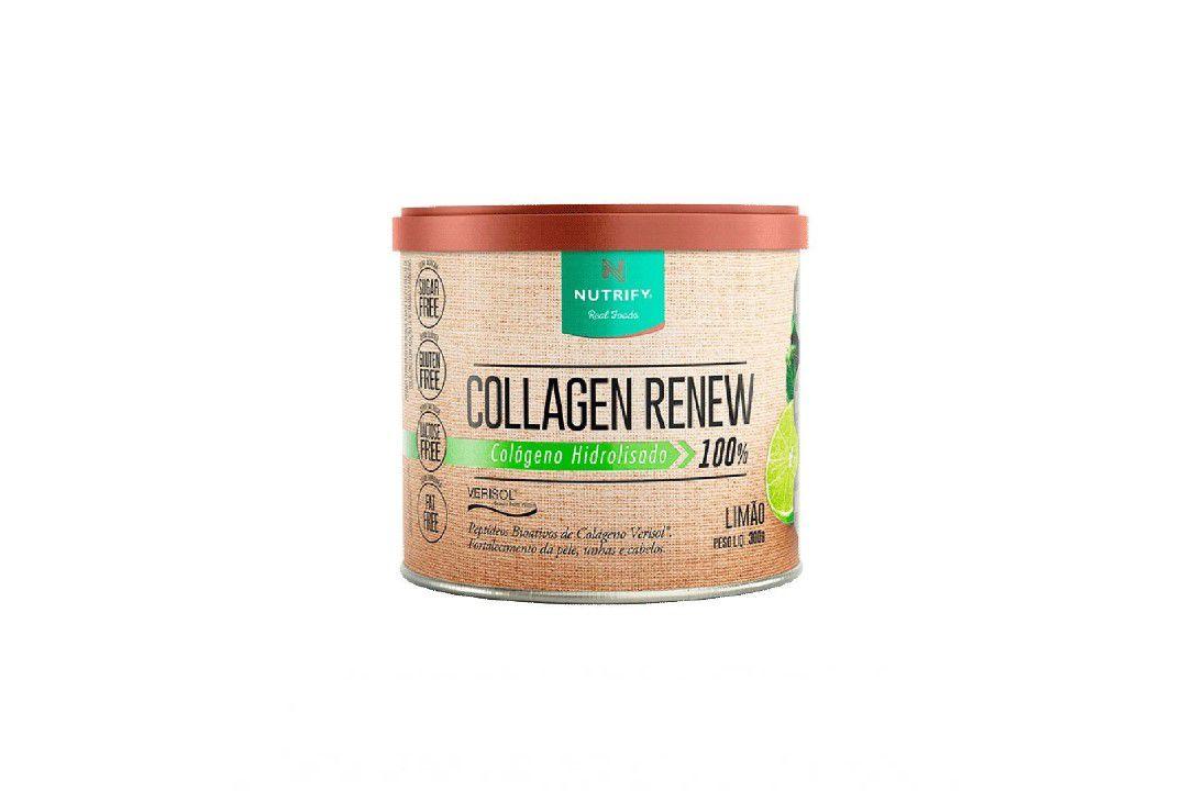 Colágeno Hidrolisado 100% com Verisol Sabor Limão - Collagen Renew - Nutrify 300 Gr  - Mundo Cerealista
