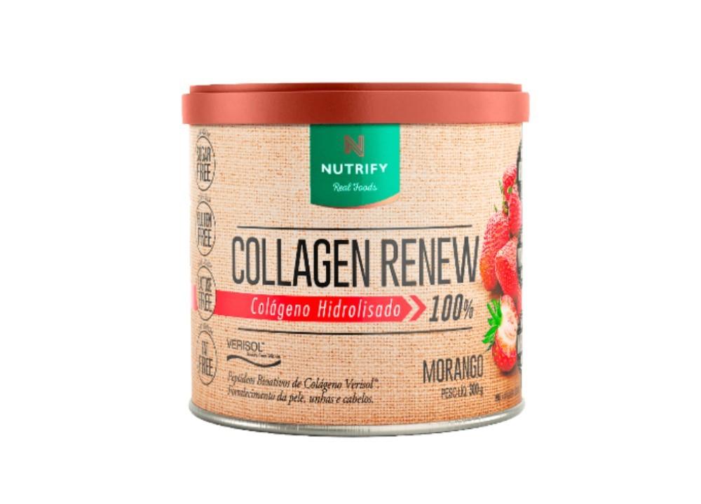 Colágeno Hidrolisado 100% com Verisol Sabor Morango - Collagen Renew - Nutrify 300 Gr  - Mundo Cerealista