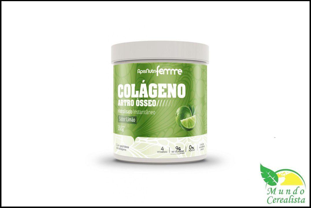 Colágeno Hidrolizado Artro Osteo (Sabor Limao/ Clor.)  200 gr - Apisnutri  - Mundo Cerealista