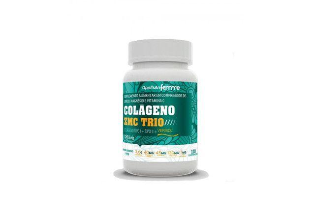 Colageno ZMC (Zinco, Magnesio e Vit. C) Trio Verisol + Tipo I + Tipo II - 120 Comp 1250 Mg - Apisnutri  - Mundo Cerealista