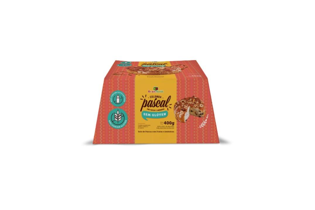 Colomba Pascal com Frutas e Amêndoas Sem Glúten, Sem Lactose, Sem Leite - Grani Amici 400g  - Mundo Cerealista