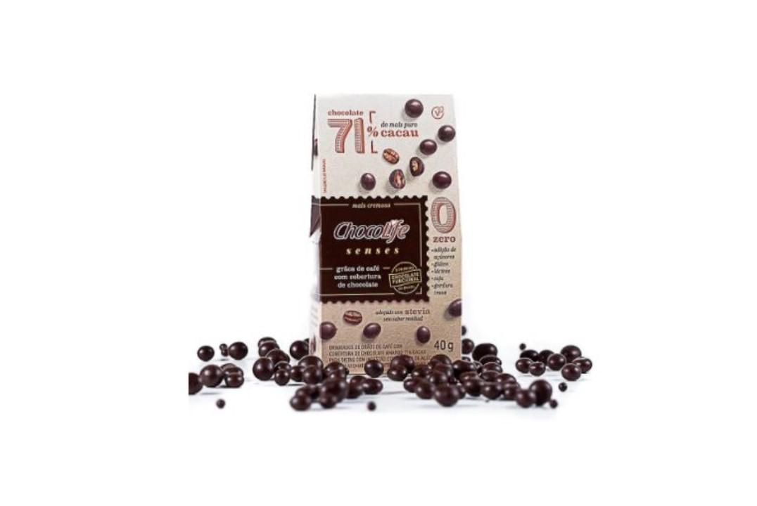 Drageado de Café com Chocolate Amargo 71% Cacau 40g - Chocolife  - Mundo Cerealista