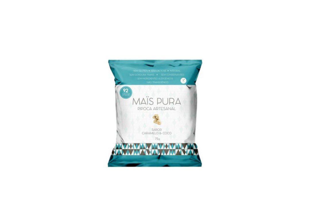 Pipoca Mais Pura Sabor Caramelo e Coco 75 gr  - Mundo Cerealista