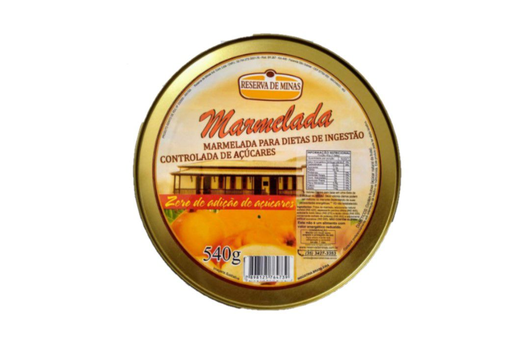 Marmelada diet 0 (zero) % açúcar - Reserva de Minas - Lata 540 Gr  - Mundo Cerealista