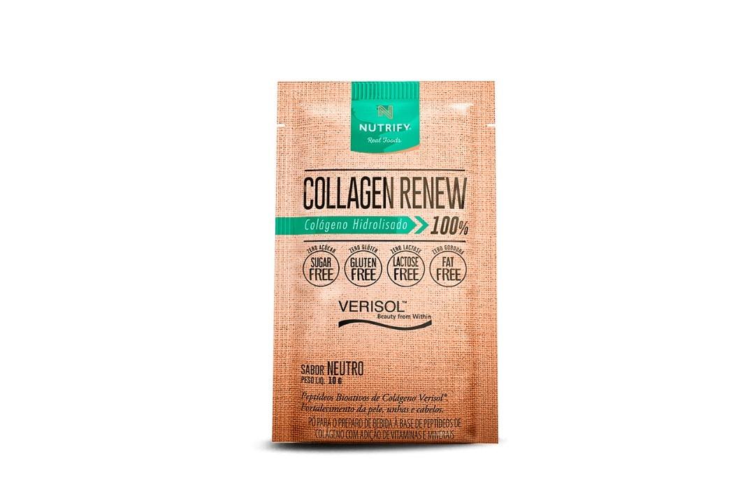 Sachê de Colágeno Hidrolisado 100% com Verisol Sabor Limão - Collagen Renew - Nutrify 10 Gr  - Mundo Cerealista