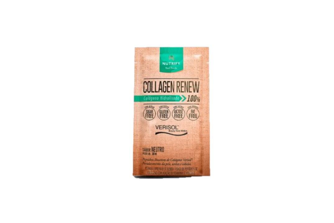 Sachê de Colágeno Hidrolisado 100% com Verisol Sabor Neutro - Collagen Renew - Nutrify 10 Gr  - Mundo Cerealista