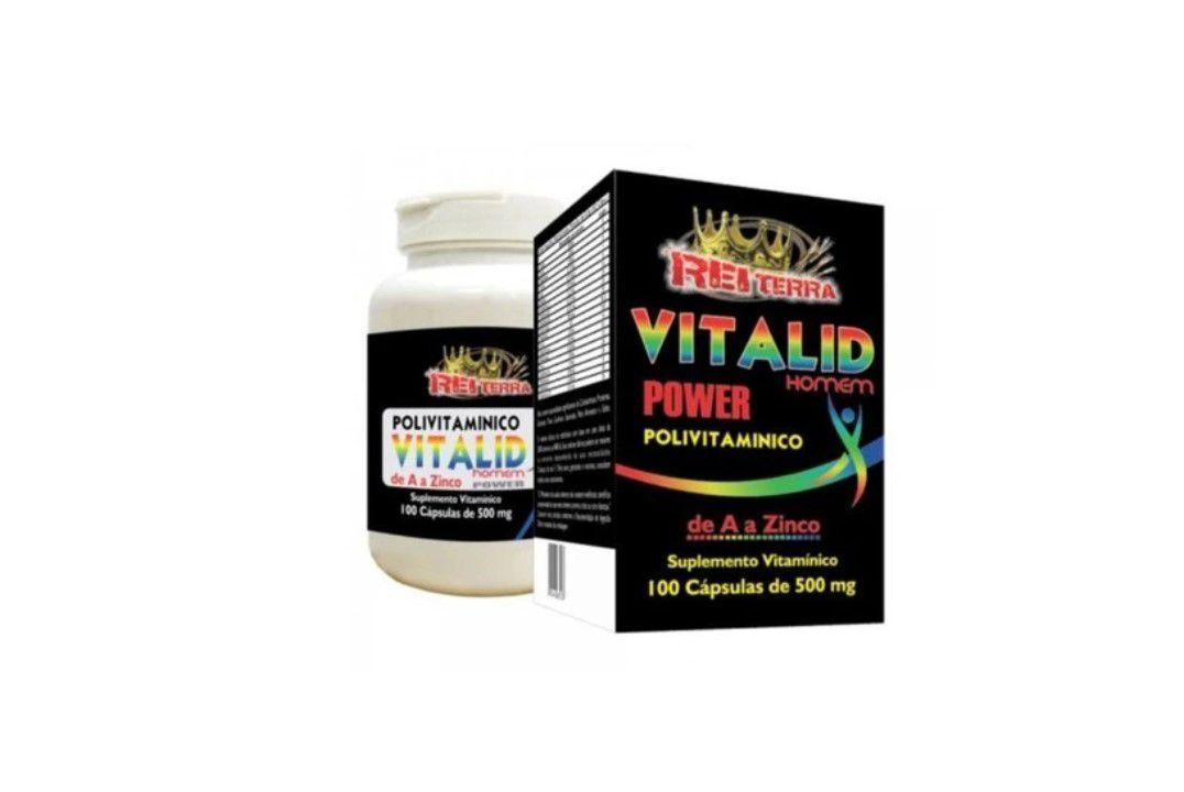 Polivitamínico Vitalid Homem Power (de A a Z) 100 Caps 500Mg - Rei Terra  - Mundo Cerealista