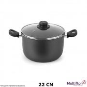 Caldeirão Antiaderente Gourmet 22 cm Tampa de Vidro - Multiflon