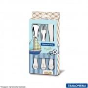 Jogo de Talheres Infantil Inox 3 pç. Azul Barco - Tramontina