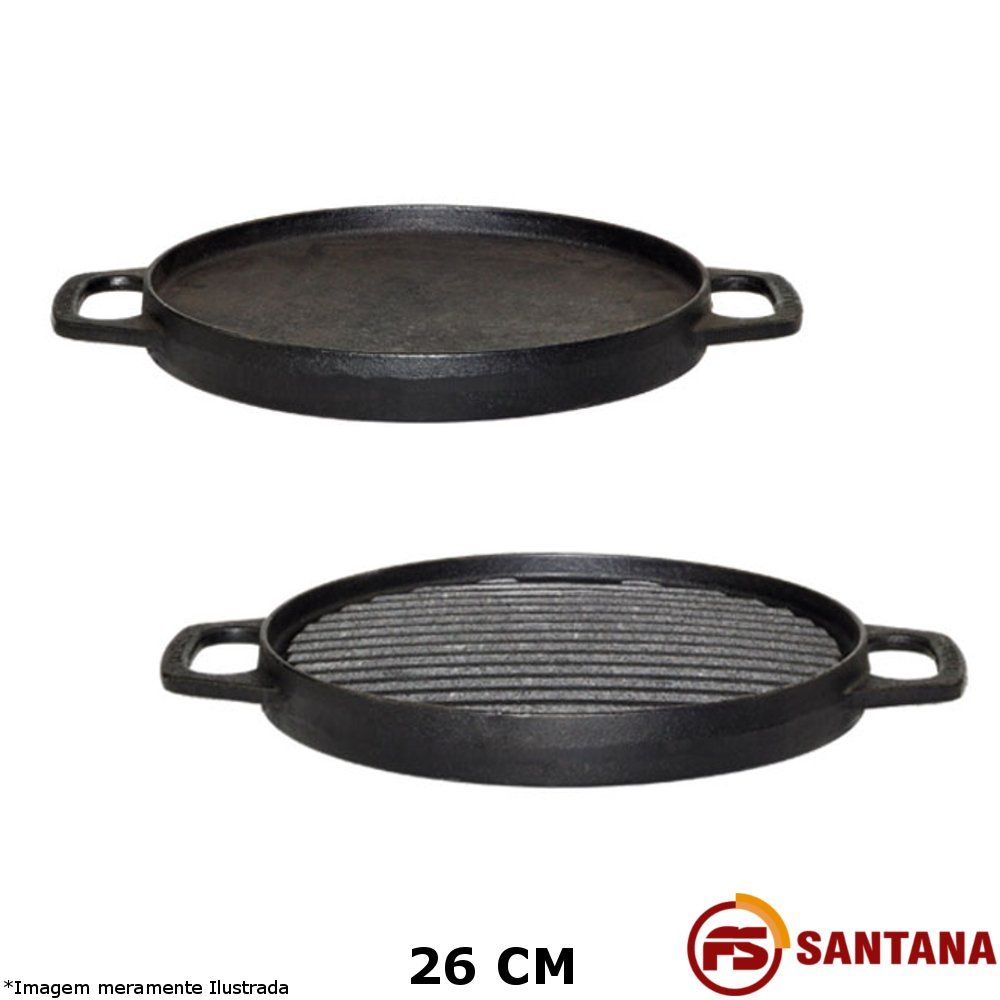 Bifeteira 2 Lados c/ Alça Ferro Fundido - Fundição Santana