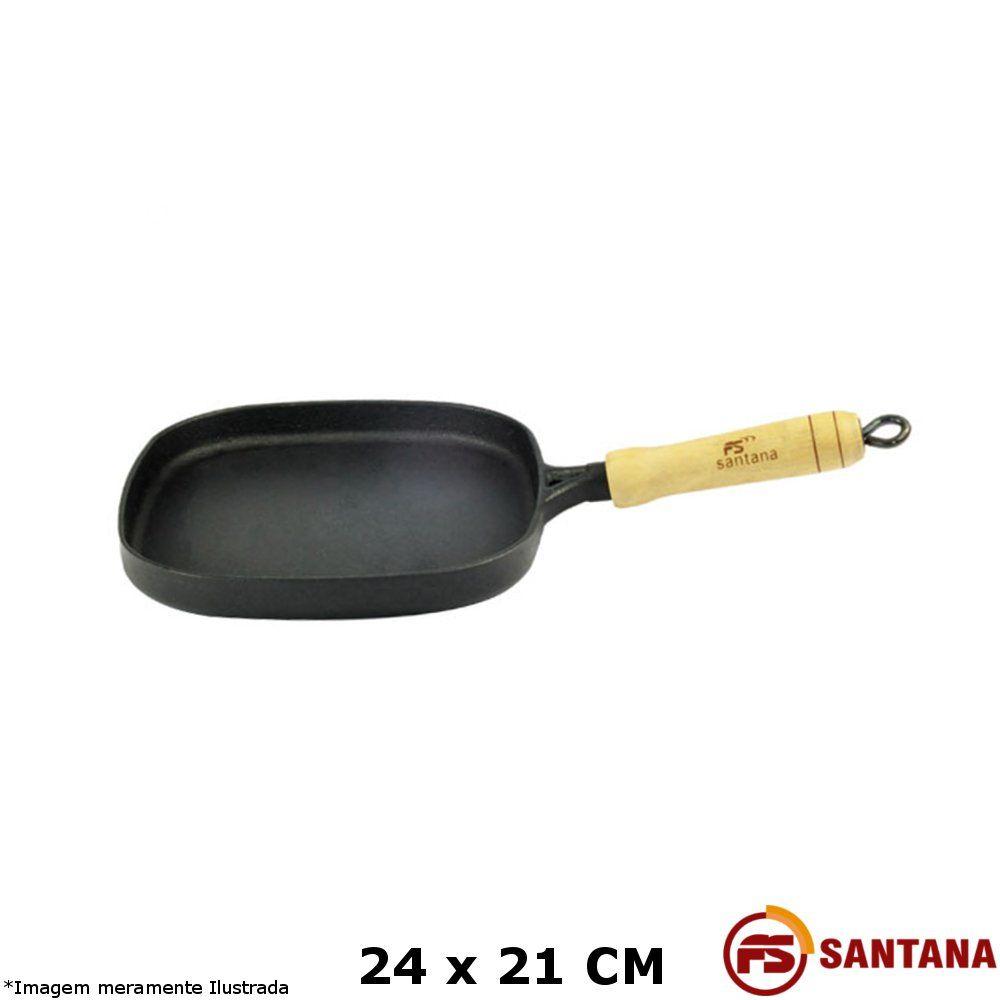 Bifeteira c/ Cabo 24 x 21 cm Ferro Fundido - Fundição Santana