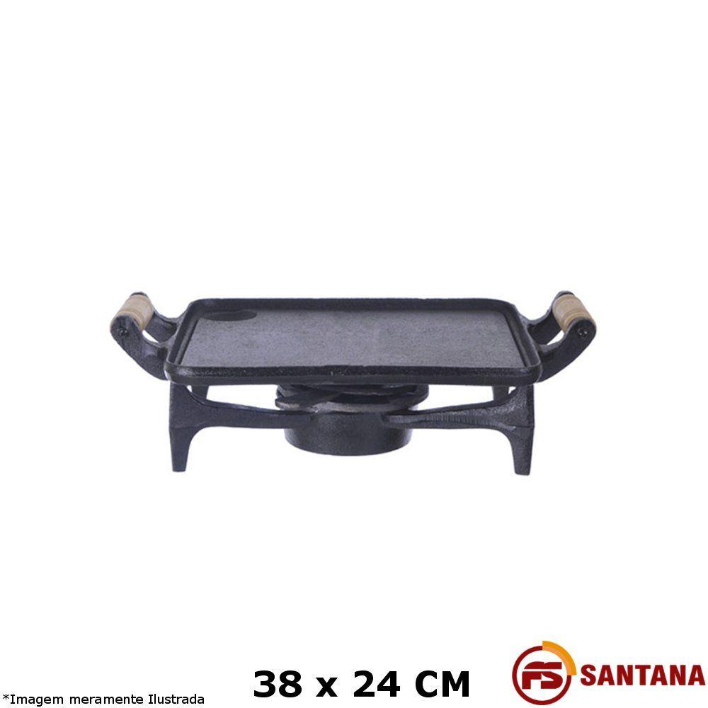 Bifeteira c/ Rechaud Lisa 38 x 24 cm - Fundição Santana