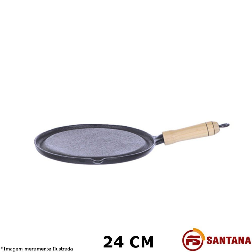 Bifeteira Redonda Lisa 24 cm Ferro Fundido - Fundição Santana
