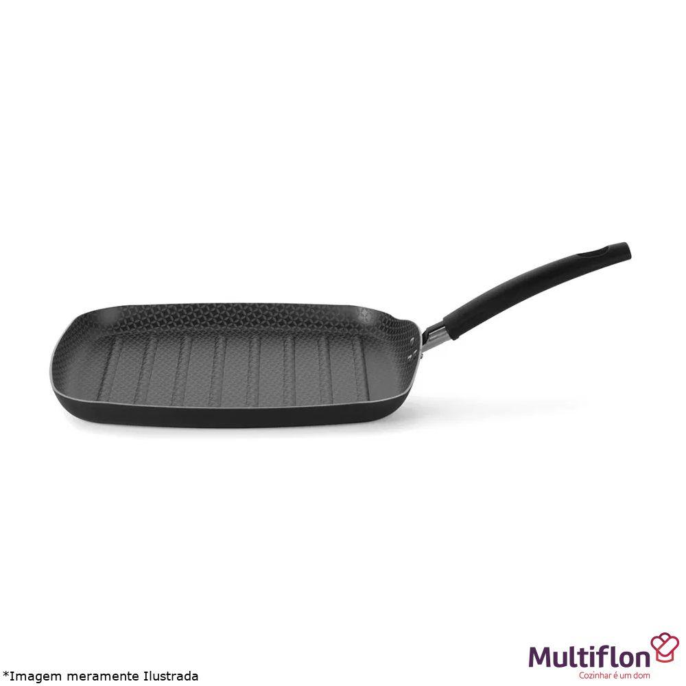 Bistequeira Quadrada Canelada Antiaderente Gourmet - Multiflon