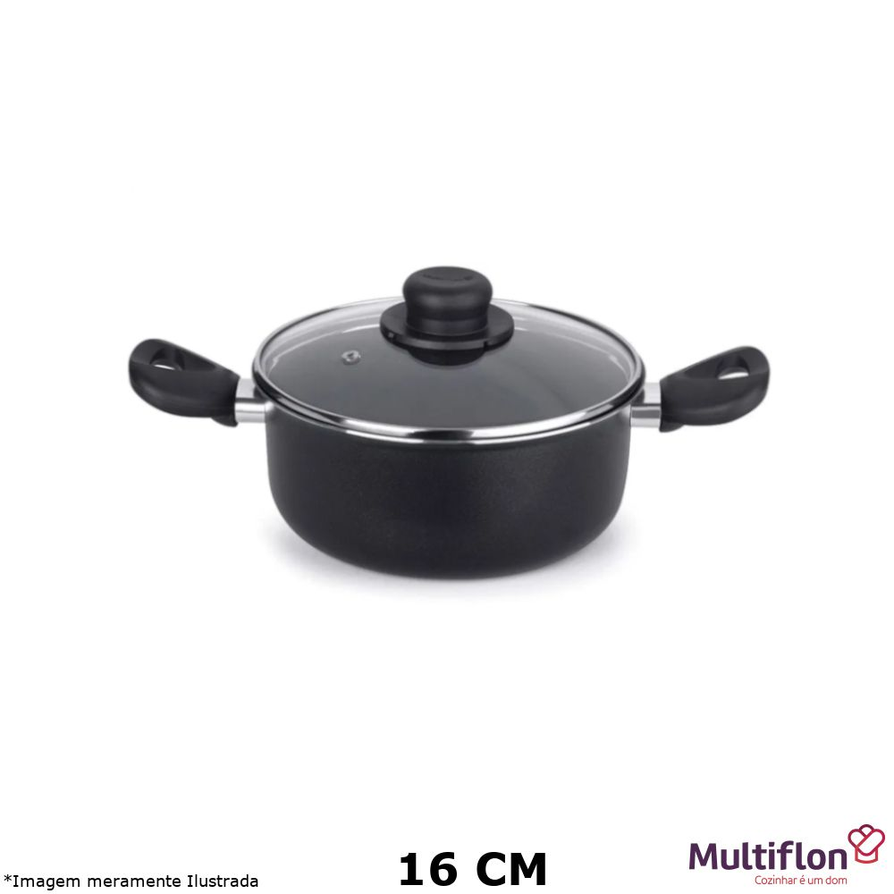 Caçarola Antiaderente Gourmet Vapore 16 cm Tampa de Vidro - Multiflon