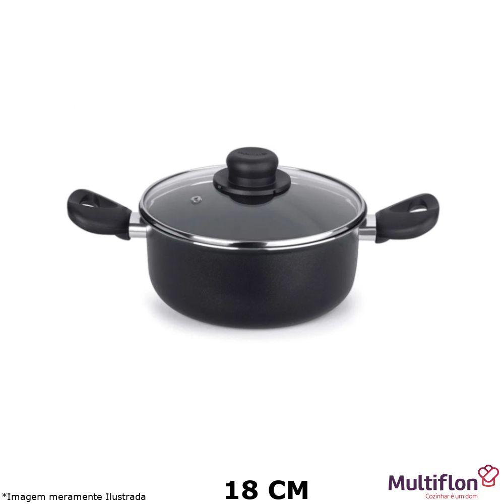 Caçarola Antiaderente Gourmet Vapore 18 cm Tampa de Vidro - Multiflon