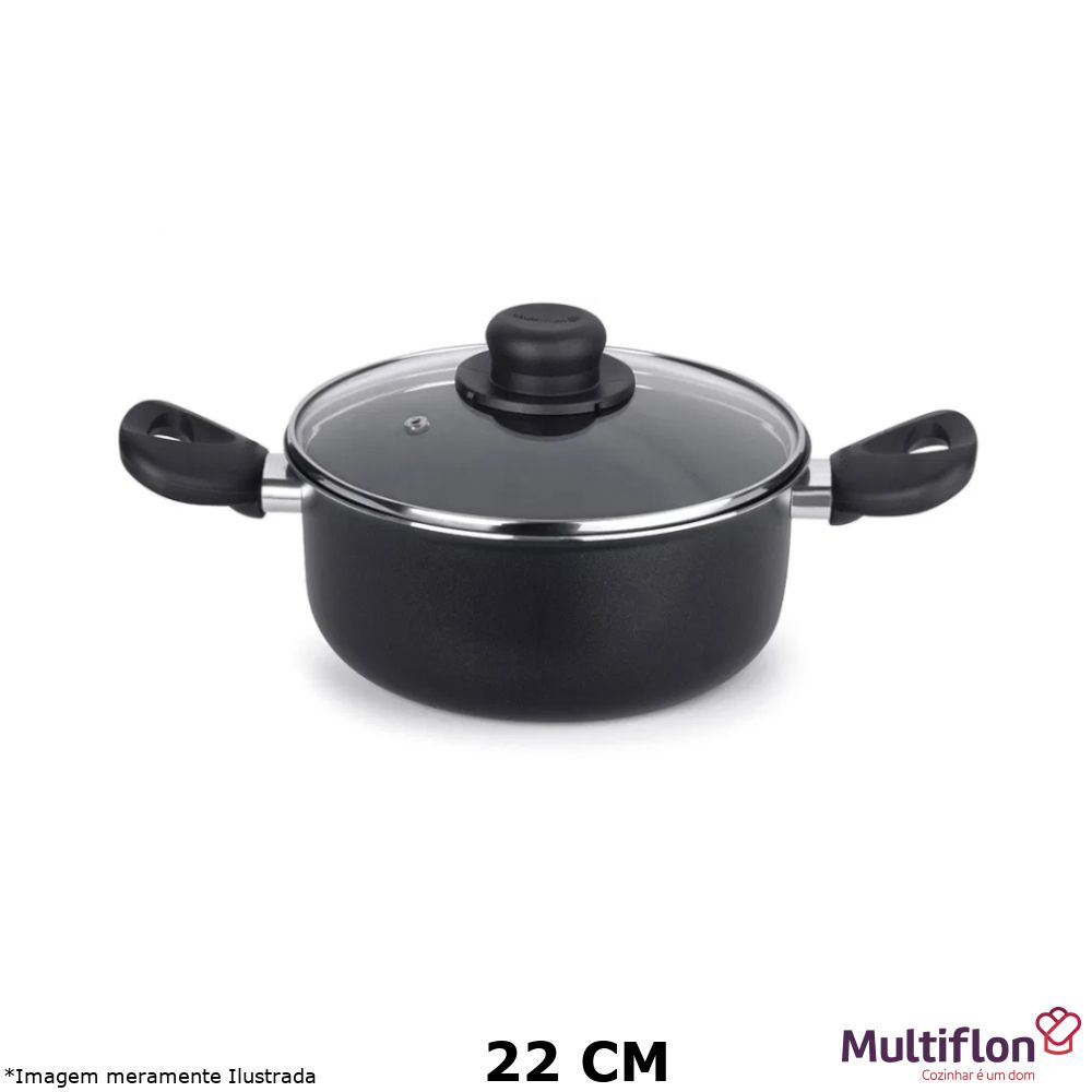 Caçarola Antiaderente Gourmet Vapore 22 cm Tampa de Vidro - Multiflon