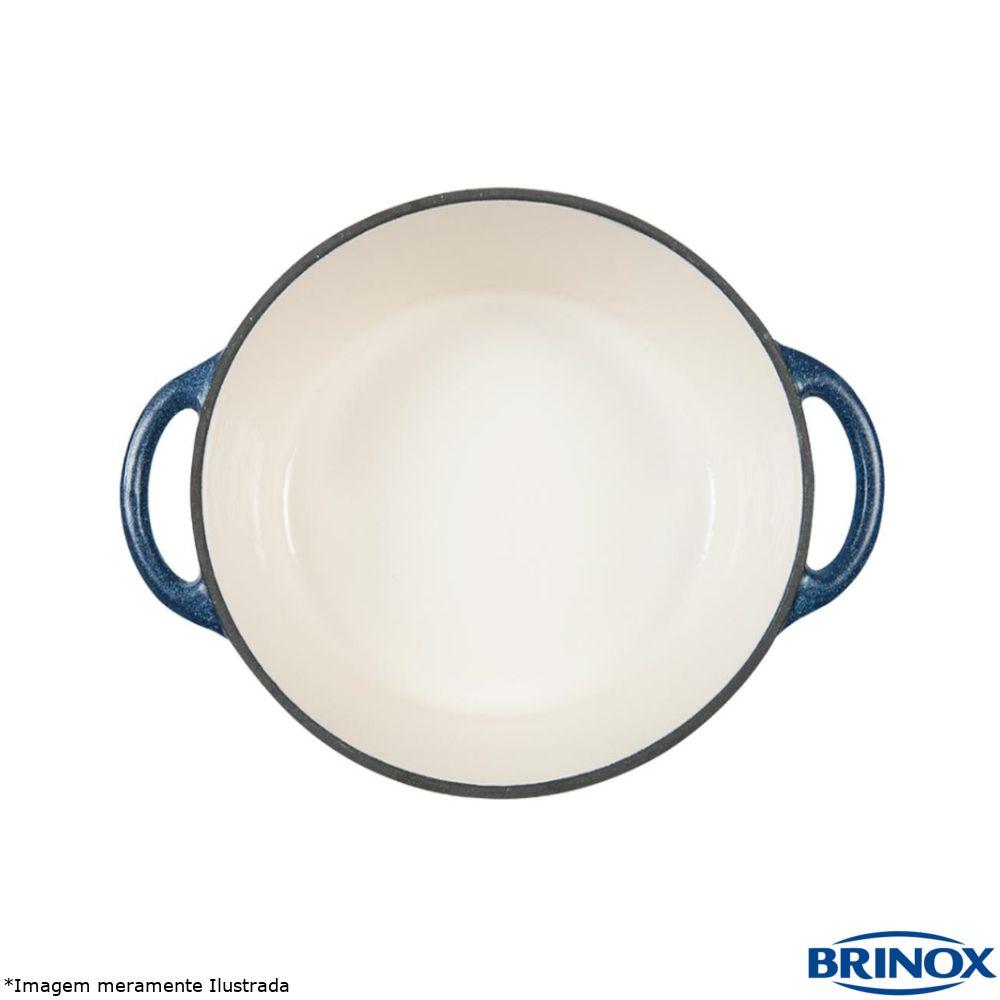 Caçarola Baixa Ferro Fundido e Esmalte 28 cm Fusion Azul - Brinox